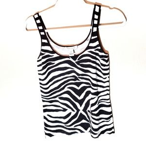 White House Black Market Zebra Stripe Tank Top